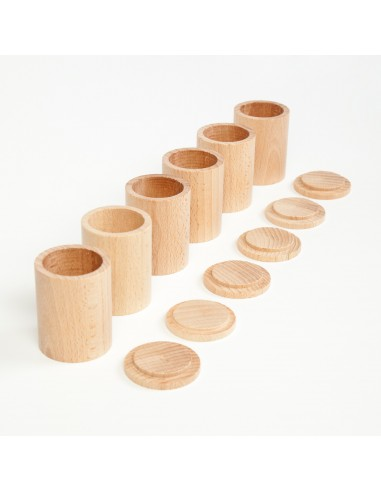 6 x natural cups with cover